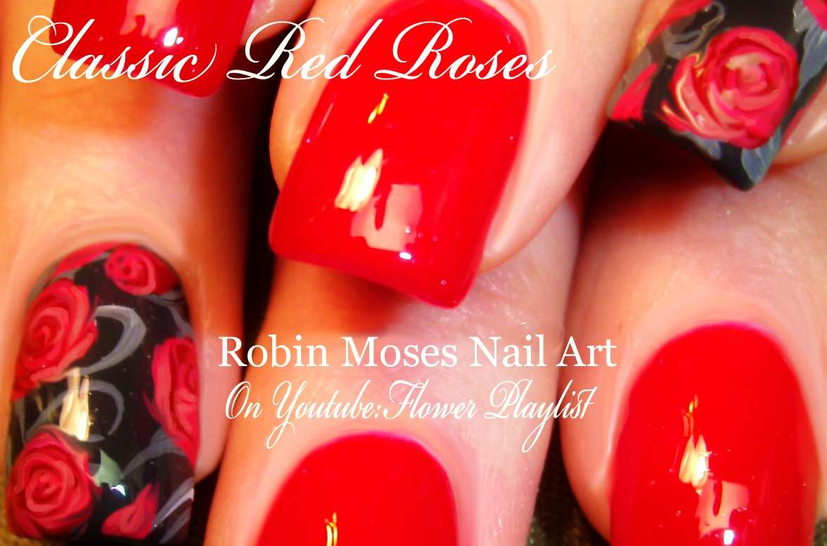 Nail Art By Robin Moses Rosegold Nails How To Paint Roses Nail Art