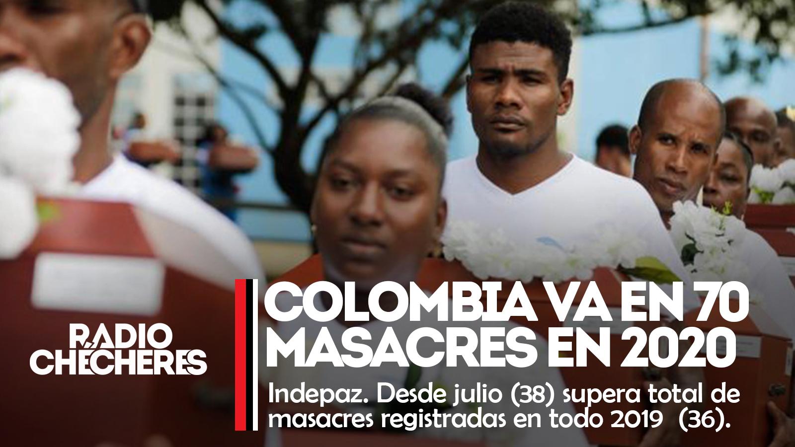 Colombia llegó a 70 masacres durante el 2020: Indepaz. Desde julio (38) supera total de masacres registradas en todo 2019  (36).