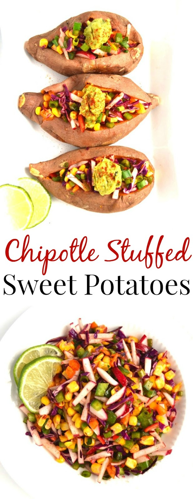 These Chipotle Stuffed Sweet Potatoes are fresh and full of flavor! They are packed full of vegetables and topped with flavorful guacamole. www.nutritionistreviews.com