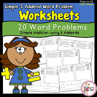 Word Problem Worksheets using 3 Addends
