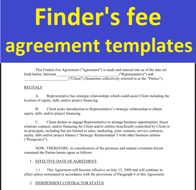Finders Fee Agreement Templates To Download In Word Document
