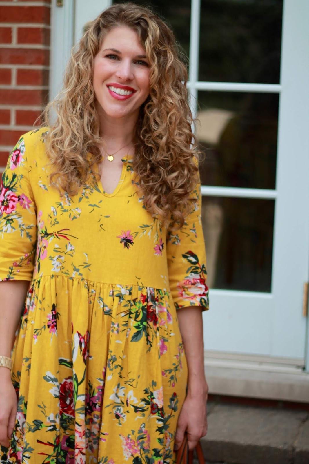 yellow floral maxi dress, tory burch miller sandals, tory burch cognac tote,