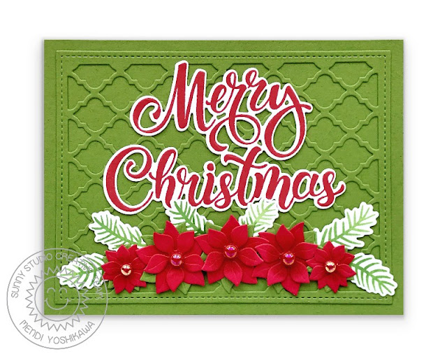 Sunny Studio Stamps Merry Christmas Red & Green Poinsettia Handmade Holiday Card (using Season's Greetings Stamps & Word Dies, Frilly Frames Quatrefoil & Window Quad Circle Dies)