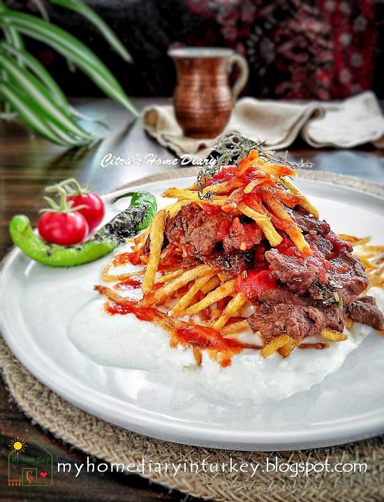 Turkish Food Recipe; Lamb /veal steak with garlic yogurt sauce (Çökertme Kebabı) | Çitra's Home Diary. #turkishfoodrecipe #resepmasakanturki #kebabkhasturki #kebab #çökertmekebabı #dinneridea #garlicyogurtsauce