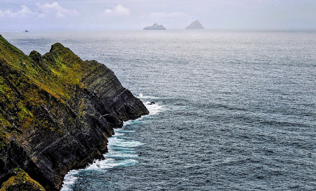 Skellig Islands viewed from the Kerry Cliffs in Ireland