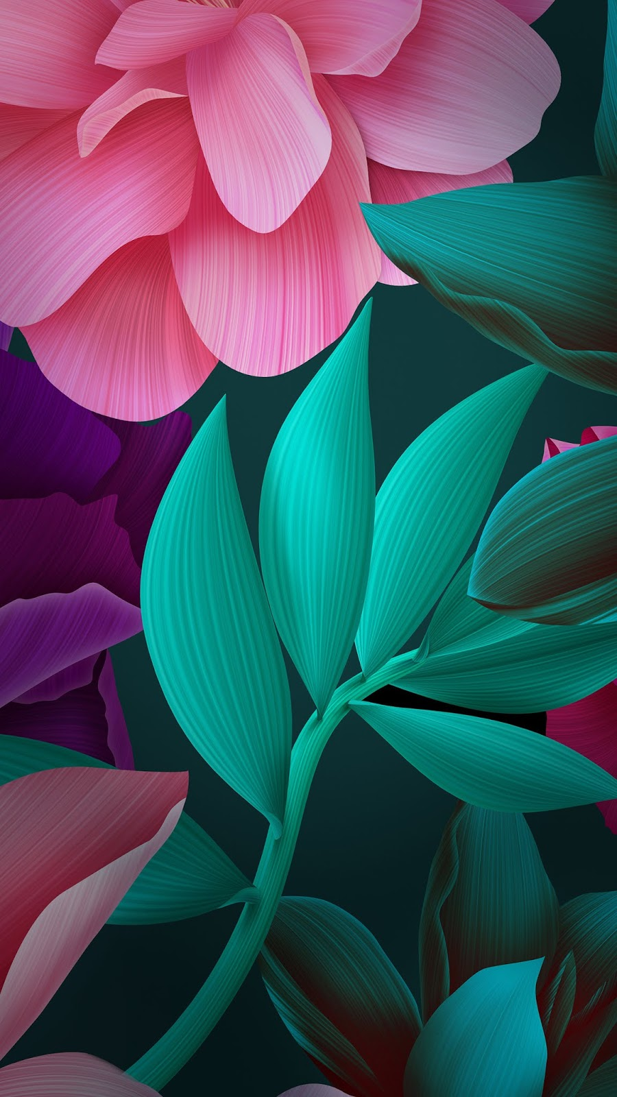 Magenta flower huawei blue 3d mobile wallpaper