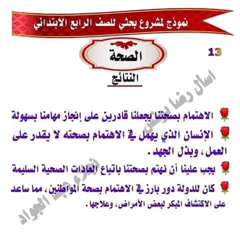 مشروع بحث عن الصحه للصف الرابع لميس نجلاء عبد الجواد 13