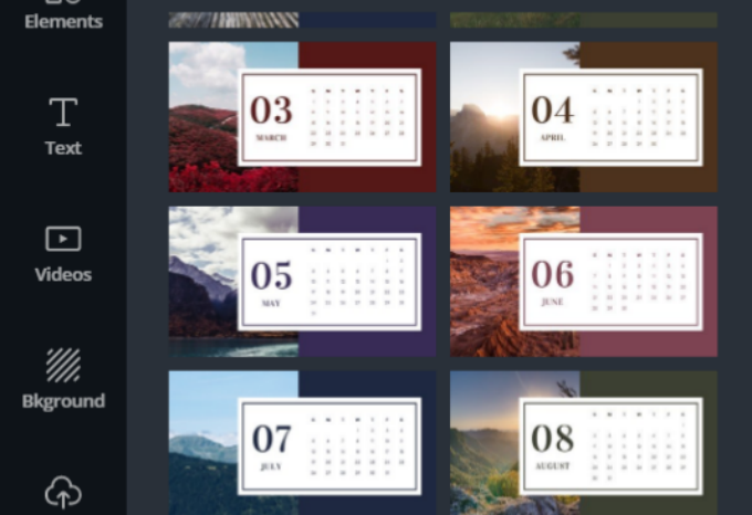 Calendar templates on Canva