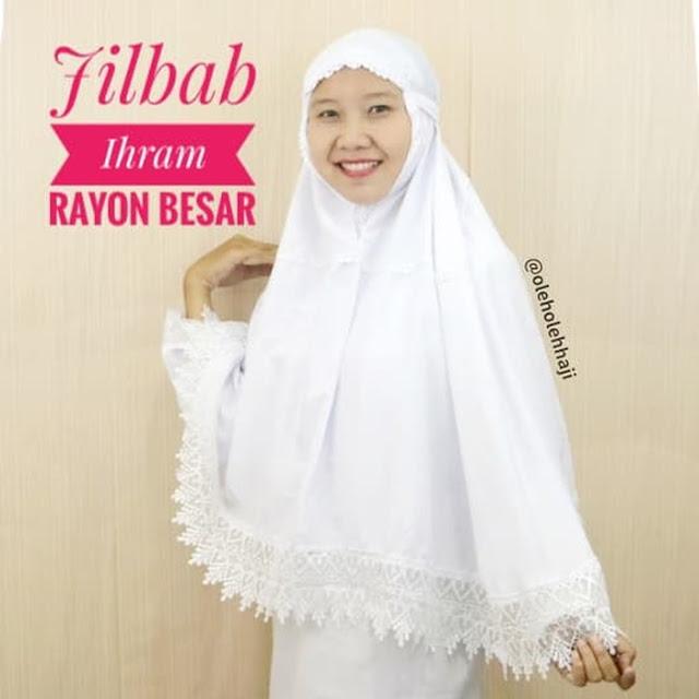 Jilbab Ihrom Rayon Besar, oleh oleh haji dan umroh, perlengkapan haji dan umroh, perlengkapan ibadah solat, mekkah, madinah.