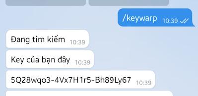Nhận key wrap+ 1.1.1.1 qua Telegram