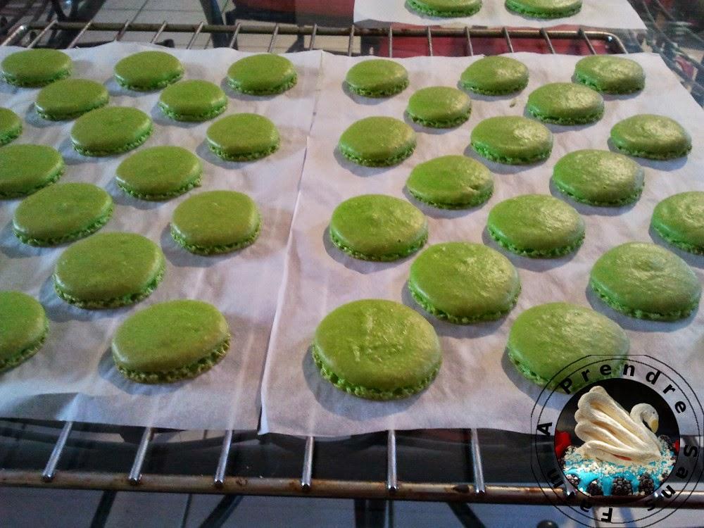 Macarons menthe-chocolat (pas à pas en photos)
