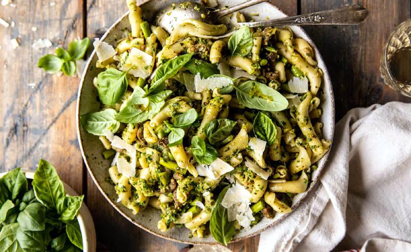 One Pot Lemon Basil, Asparagus, and Sausage Pasta