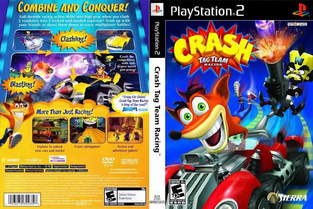 Descargar Crash - Tag Team Racing ps2 iso NTSC-PAL: Es un videojuego de plataformas y de carrera a la vez para las videoconsolas PlayStation 2, PSP, GameCube y Xbox protagonizado por el marsupial evolucionado en parte Crash Bandicoot.