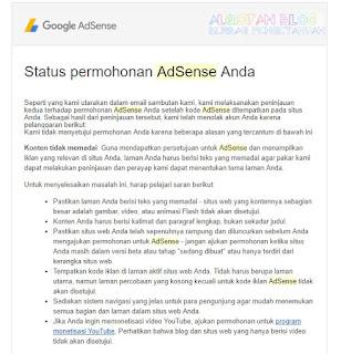 konten tidak memadai- 5 penolakan Google Adsense