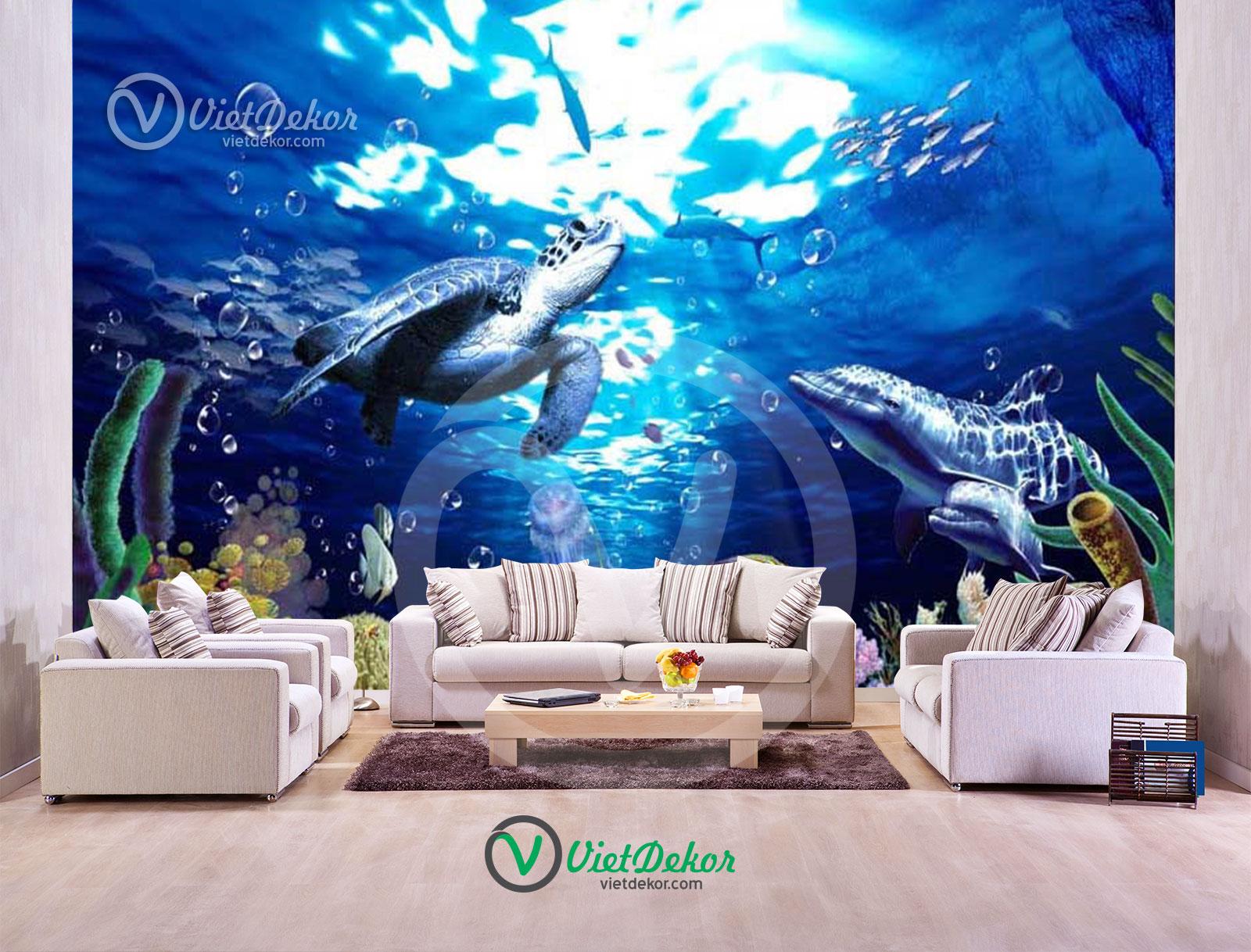 Tranh dán tường 3d phong cảnh đáy biển cá xấu
