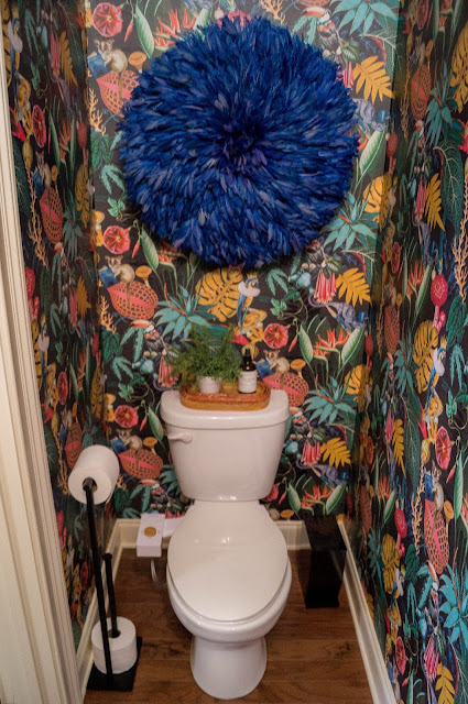Colorful Powder Bath Makeover Juju hat over toilet