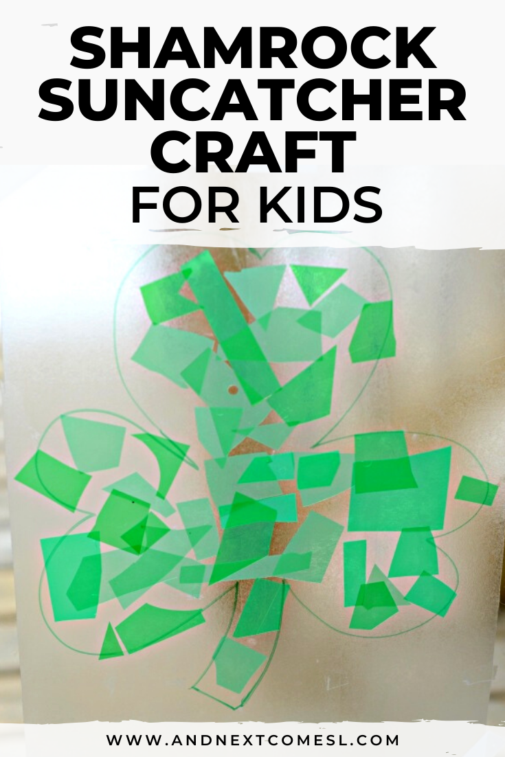 Shamrock suncatcher craft for kids - It's an easy DIY craft for toddlers and preschoolers!