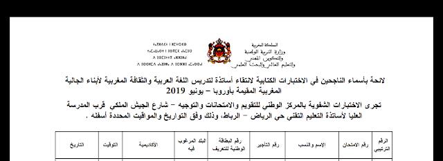 نتائج الاختبارات الكتابية لانتقاء اساتذة تدريس اللغة العربية وااثقافة المغربية لابناء الجالية بأوروبا