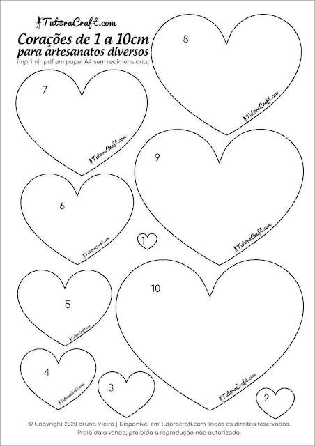 Moldes de coração para imprimir