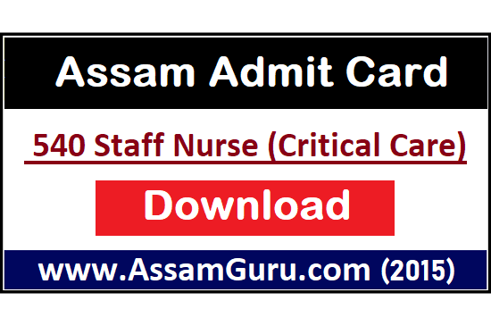 DHS Assam Staff Nurse Admit Card 2020