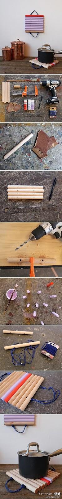 Porta panelas com cabo de vassouras