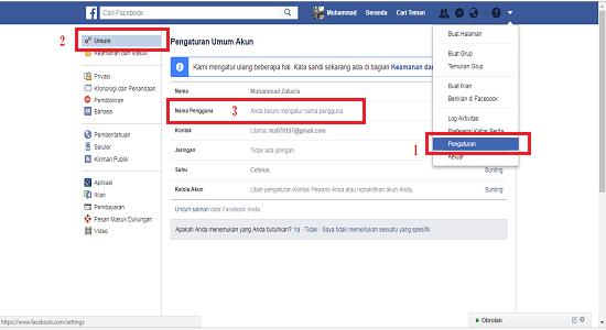 Cara membuat username facebook