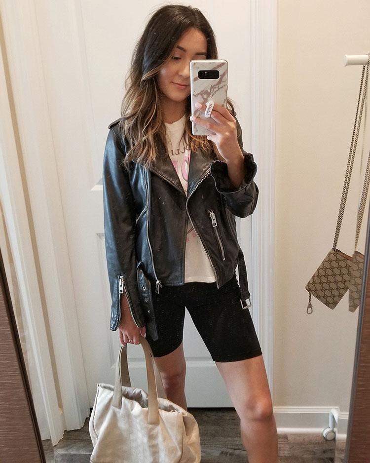 allsaints balfern leather jacket outfit summer
