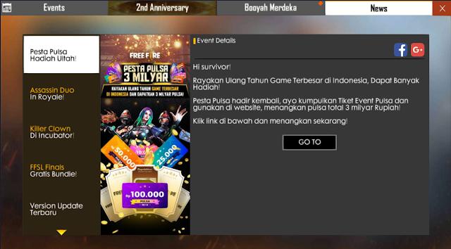 Cara Mendapatkan Tiket Gacha Web Event 2nd Anniversary Free Fire Pulsa 3 Milyar