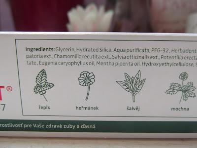 herbadent bylinková zubná pasta zloženie