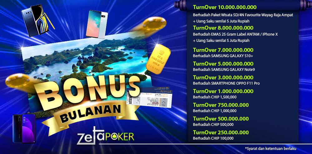 Bonus Bulanan ZetaPoker Online Indonesia