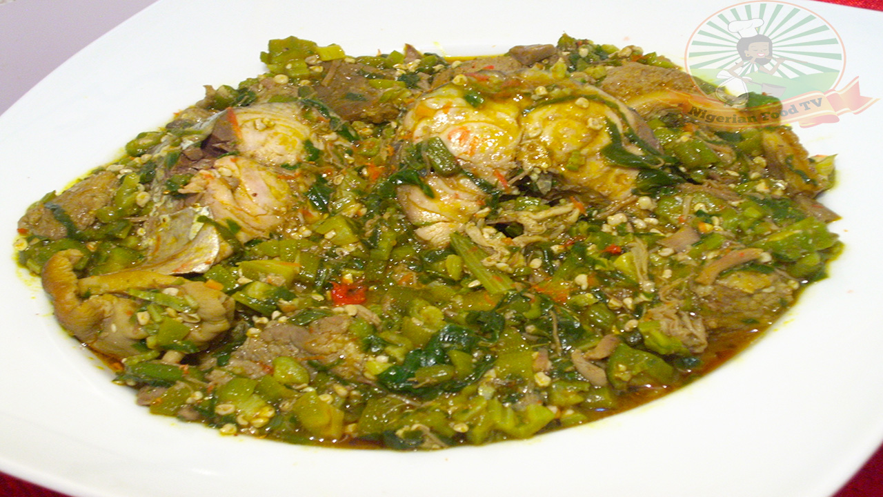 Nigerian Okra Soup Obe Ila With Fresh Fish And Assorted Meat Nigerian Food Tv
