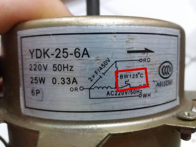 fusível de proteção de 125° C motor elétrico monofásico 220V 5 fios YDK-25-6A