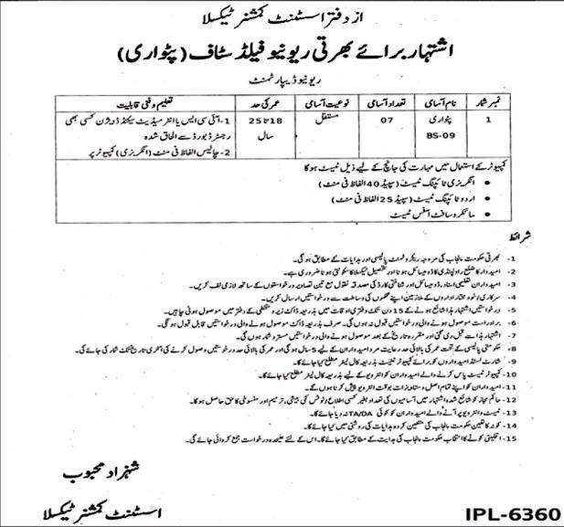 Punjab Revenue Department 2021- Assistant Commissioner AC Office New Jobs For Patwari
