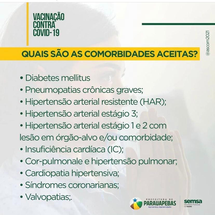 Covid-19: Prefeitura inicia agendamento para vacinação de pessoas com comorbidades na faixa etária de 18 a 59 anos - Portal Pebão