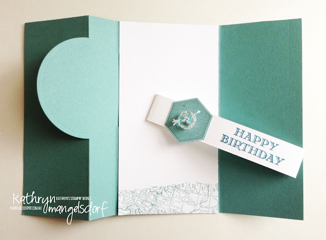 Stampin' Up! Circle Card Thinlit, World Map, Six-Sided Sampler, Hexagon Punch Flip Card created by Kathryn Mangelsdorf