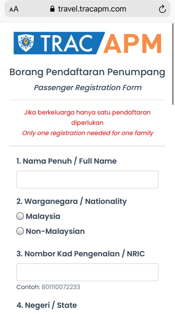 Langkawi Travel Bubble Passenger Registration