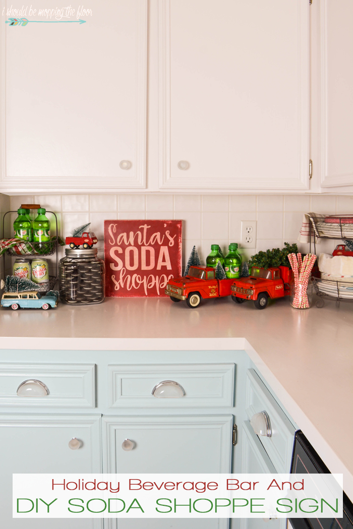 DIY Soda Shoppe Sign and Holiday Beverage Bar | How to make a fun Santa's Soda Shoppe Sign and Holiday Beverage Bar