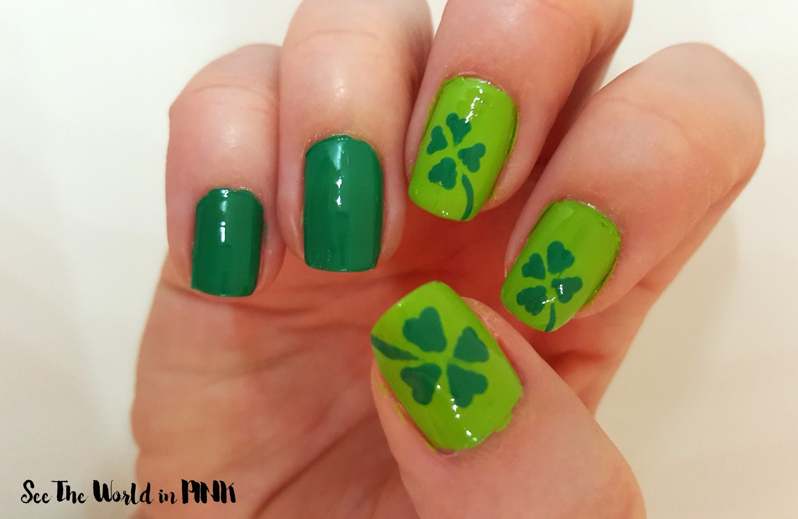 Manicure Monday St Patricks Day 4 Leaf Clover Nails See The