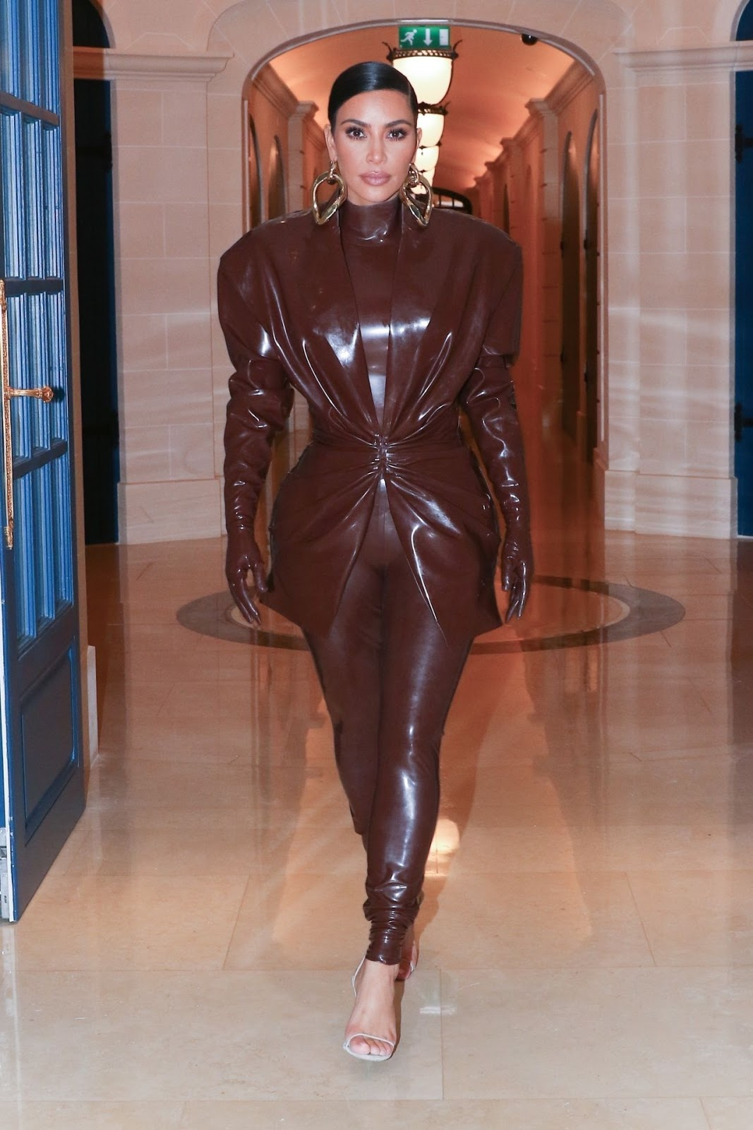 Kim Kardashian in Balmain FW20 Latex Outfit