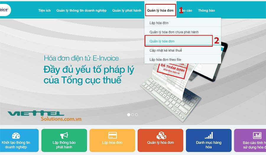 Hình 1 - Quản lý hóa đơn đã phát hành trên hệ thống S-Invoice