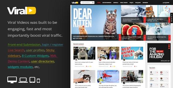 ViralVideo Responsive Magazine WordPress Theme