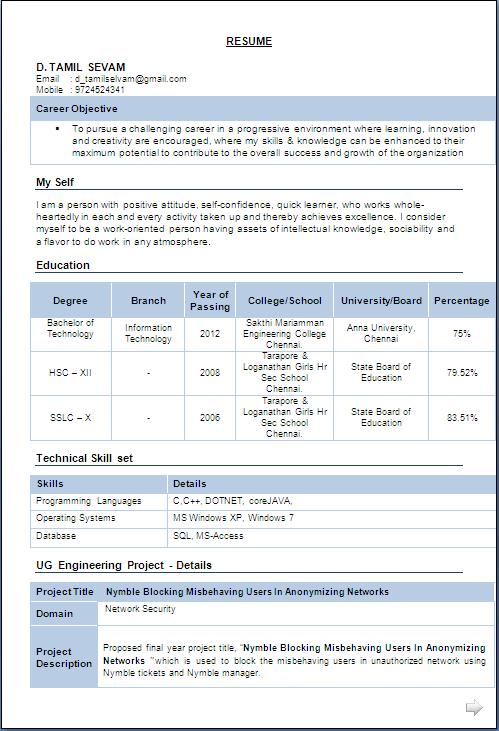 resume sample b e information technology resume format resume