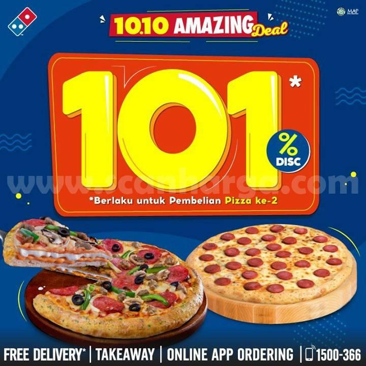 Promo Dominos Pizza 10.10 Amazing Deal Diskon 101%