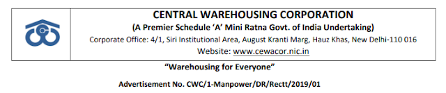Central Warehousing Corporation-CWC has recently uploaded final result for the recruitment of various posts.