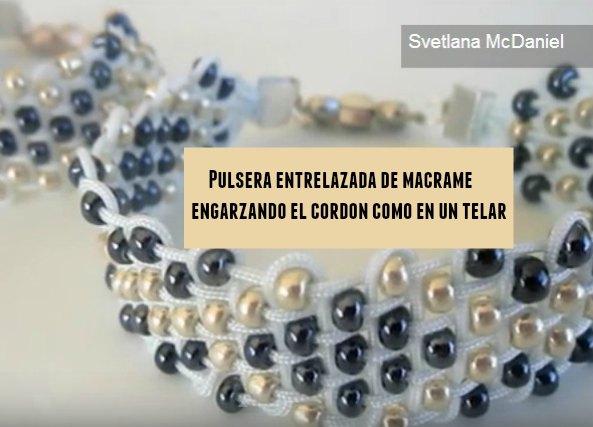 Pulsera entrelazada macrame-abalorios tutorial