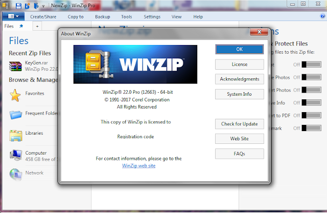 winzip 22.0 registered to and activation code free