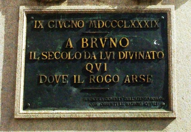 Inscripción en el monumento a Giordano Bruno (archivo del autor)