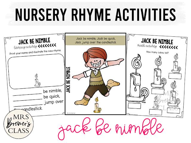 Nursery Rhyme activities for Kindergarten Jack Be Nimble