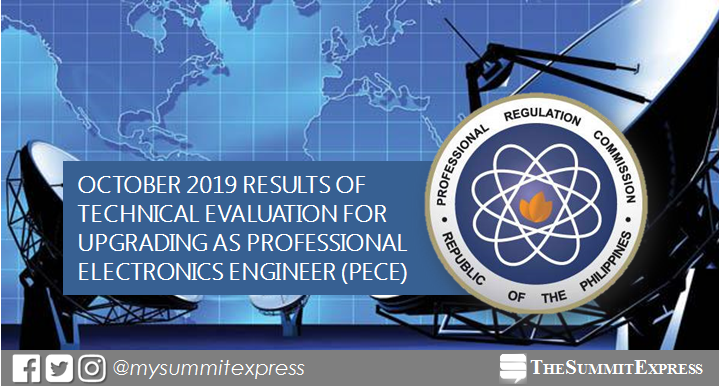 RESULT: 21 pass October 2019 Professional Electronics Engineer (PECE) technical evaluation