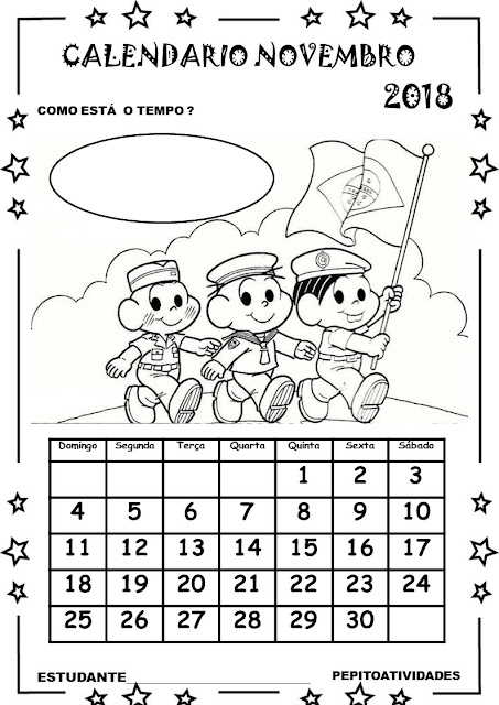 Calendários novembro turma da Mônica.